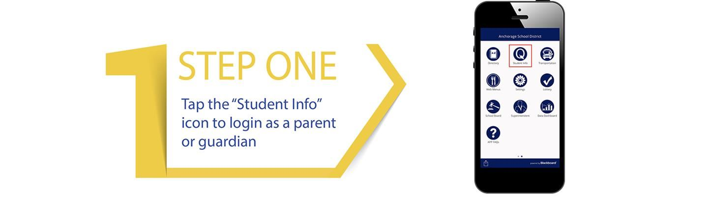 "Tap the ""Student Info"" icon to login as a parent or guardian"