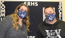 Principal Helvey and our Activities clerk together wearing masks for sale